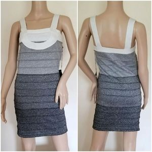 Poof couture ombre silver knit minidress